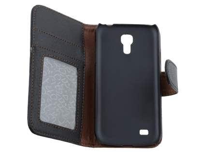 Samsung Galaxy S4 mini Synthetic Leather Wallet Case with Stand - Classic Black