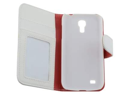 Samsung Galaxy S4 mini Synthetic Leather Wallet Case with Stand - Pearl White