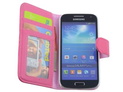 Samsung Galaxy S4 mini Synthetic Leather Wallet Case with Stand - Pink