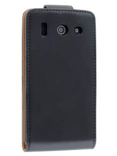 Synthetic Leather Flip Case for Huawei Ascend G510 - Black Leather Flip Case