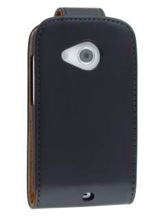 Synthetic Leather Flip Case for HTC Desire C A320e - Black Leather Flip Case