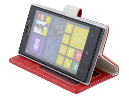 Nokia Lumia 925 Slim Synthetic Leather Wallet Case with Stand - Red