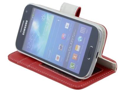 Samsung Galaxy S4 mini Synthetic Leather Wallet Case with Stand - Red
