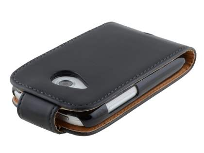 HTC Desire C A320e Synthetic Leather Flip Case - Black