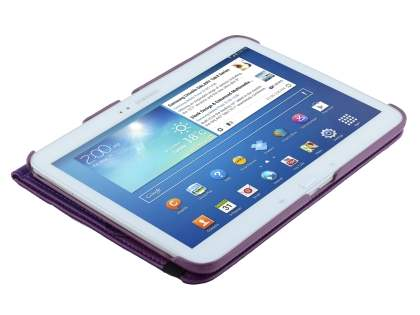 Samsung Galaxy Tab 3 10.1 VELOCITY Synthetic Leather 360° Swivel Flip Case - Purple
