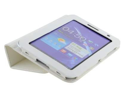 Samsung Galaxy Tab 7.0 Plus Synthetic Leather Flip Case with Fold-Back Stand - Pearl White