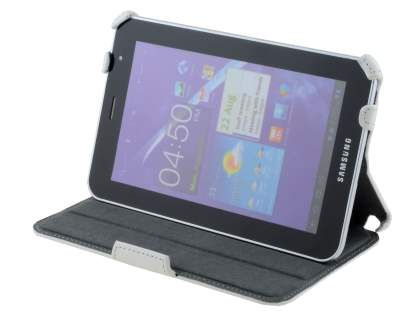 Synthetic Leather Flip Case with Dual-Angle Stand for Samsung Galaxy Tab 7.0 Plus - Pearl White Leather Flip Case