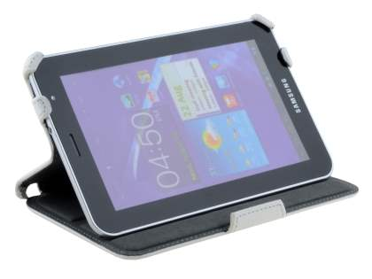 Premium Samsung Galaxy Tab 7.0 Plus Slim Synthetic Leather Flip Case with Dual-Angle Stand - Pearl White
