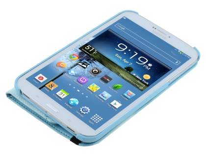 Samsung Galaxy Tab 3 8.0 VELOCITY Synthetic Leather 360° Swivel Flip Case - Sky Blue