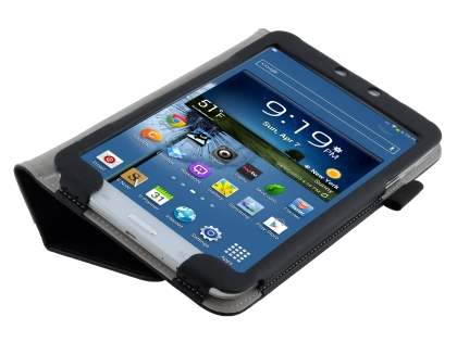 Synthetic Leather Flip Case with Fold-Back Stand for Samsung Galaxy Tab 3 8.0 - Classic Black