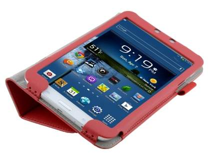 Samsung Galaxy Tab 3 8.0 Synthetic Leather Flip Case with Fold-Back Stand - Red