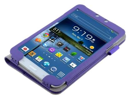 Samsung Galaxy Tab 3 8.0 Synthetic Leather Flip Case with Fold-Back Stand - Purple