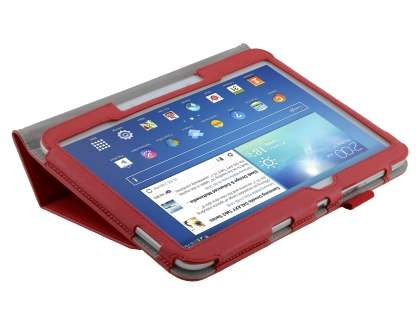 Samsung Galaxy Tab 3/4 10.1 Synthetic Leather Flip Case with Fold-Back Stand - Red