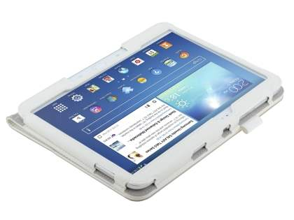 Samsung Galaxy Tab 3/4 10.1 Synthetic Leather Flip Case with Fold-Back Stand - Pearl White