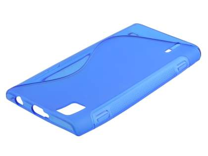 Wave Case for Huawei Ascend P2 - Frosted Blue/Blue Soft Cover