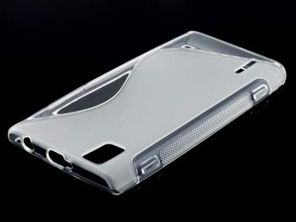 Wave Case for Huawei Ascend P2 - Frosted Clear/Clear Soft Cover