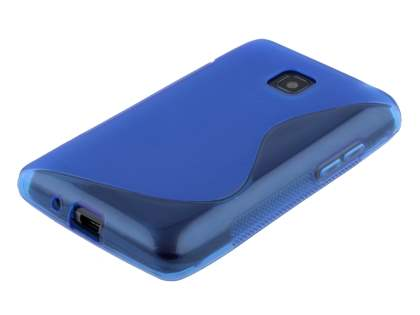 LG Optimus L3 II Dual E435 Wave Case - Frosted Blue/Blue