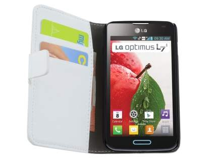 LG Optimus L7 II P710 Synthetic Leather Wallet Case with Stand - Pearl White
