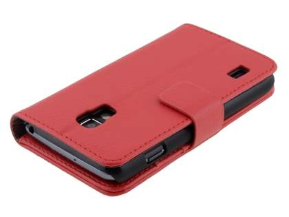 LG Optimus L7 II P710 Synthetic Leather Wallet Case with Stand - Red