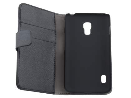 LG Optimus L7 II P710 Synthetic Leather Wallet Case with Stand - Classic Black