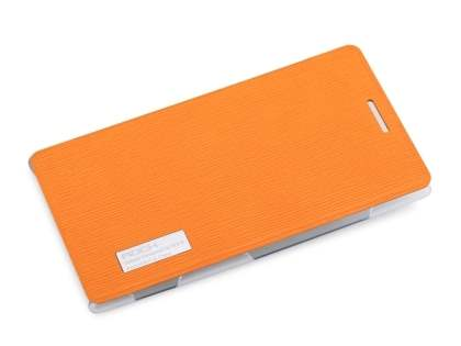 ROCK Elegant Book-Style case for Nokia 925 - Orange/Frosted Clear Leather Wallet Case