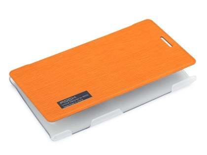 ROCK Nokia 925 Elegant Book-Style case - Orange/Frosted Clear