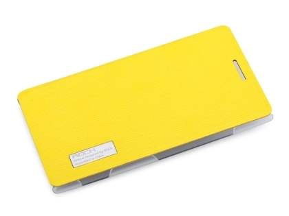 ROCK Elegant Book-Style case for Nokia 925 - Canary Yellow/Frosted Clear Leather Wallet Case