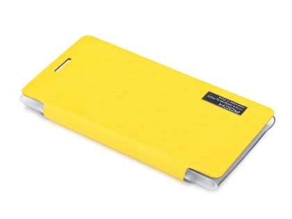 ROCK Nokia 925 Elegant Book-Style case - Canary Yellow/Frosted Clear