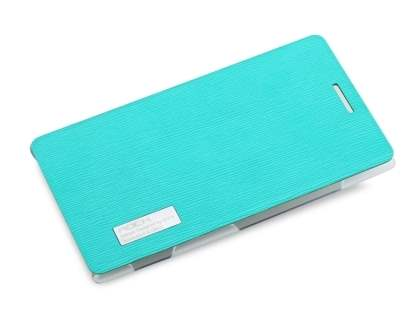 ROCK Elegant Book-Style case for Nokia 925 - Aqua Blue/Frosted Clear Leather Wallet Case