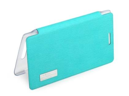 ROCK Nokia 925 Elegant Book-Style case - Aqua Blue/Frosted Clear