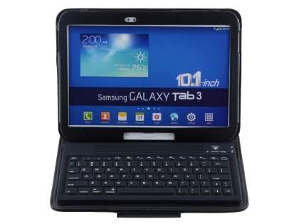 Synthetic Leather Case with Bluetooth Keyboard for Samsung Tab 3/4 10.1 - Black Keyboard
