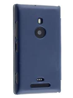Slim Synthetic Leather Book-Style Flip Cover for Nokia Lumia 925 - Dark Blue Leather Wallet Case