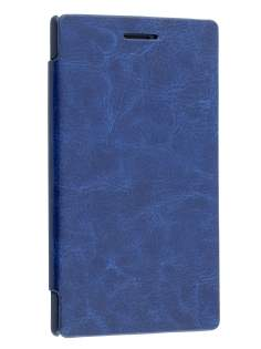 Slim Synthetic Leather Book-Style Flip Cover for Nokia Lumia 925 - Dark Blue