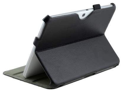 Synthetic Leather Smart Case with Multi-Angle Tilt Stand for Samsung Galaxy Tab 3/4 10.1 Slim - Classic Black Leather Flip Case