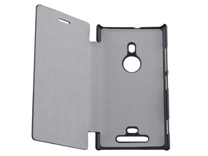 Slim Synthetic Leather Book-Style Flip Cover for Nokia Lumia 925 - Classic Black