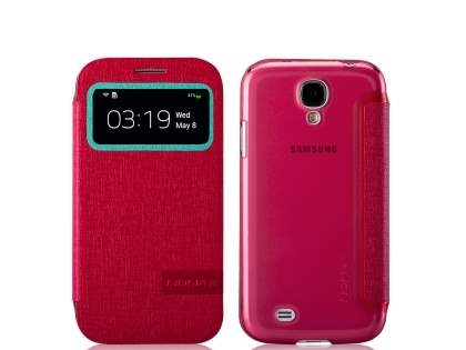 Momax Smart Flip View Case for Samsung Galaxy S4 I9500 - Coral Leather Wallet Case