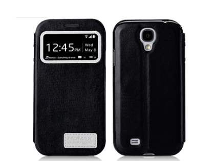 Momax Modern Vintage Stand View Case for Samsung Galaxy S4 I9500 - Night Black Leather Wallet Case