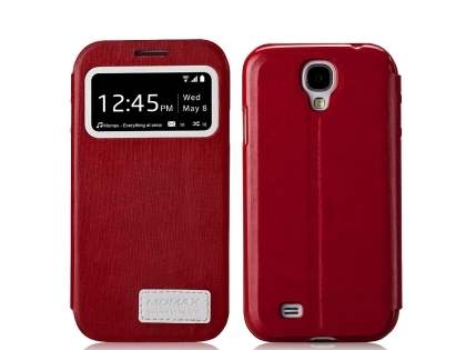 Momax Modern Vintage Stand View Case for Samsung Galaxy S4 I9500 - Rose Red Leather Wallet Case