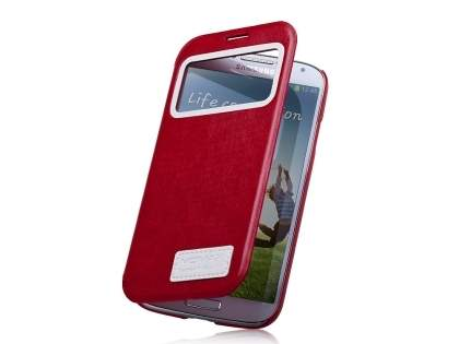 Momax Modern Vintage Stand View Case for Samsung Galaxy S4 I9500 - Rose Red