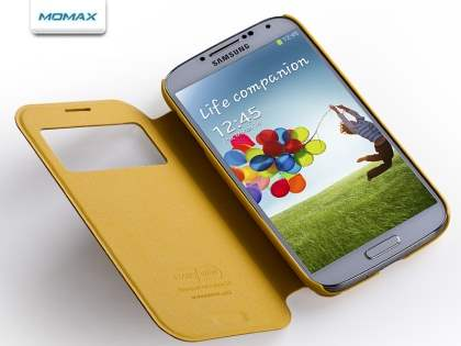 Momax Modern Vintage Stand View Case for Samsung Galaxy S4 I9500 - Canary Yellow