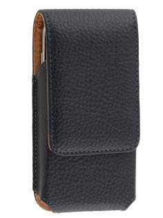 Textured Synthetic Leather Vertical Belt Pouch - Naked Mobile Only