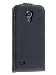 Slim Genuine Leather Flip Case for Samsung Galaxy S4 mini - Classic Black Leather Flip Case
