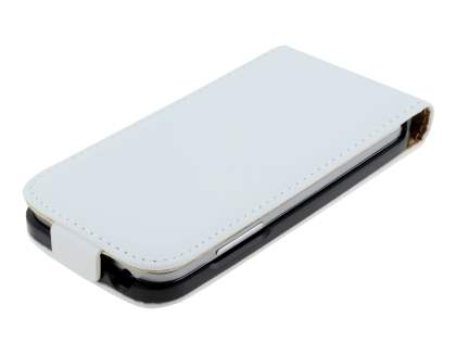 Samsung Galaxy S4 mini Slim Genuine Leather Flip Case - Pearl White