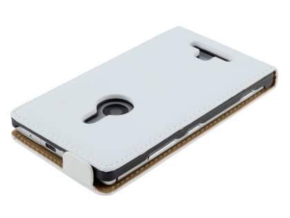 Nokia Lumia 925 Slim Genuine Leather Flip Case - Pearl White