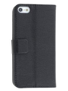 Synthetic Leather Wallet Case with Stand for iPhone 5c - Classic Black Leather Wallet Case
