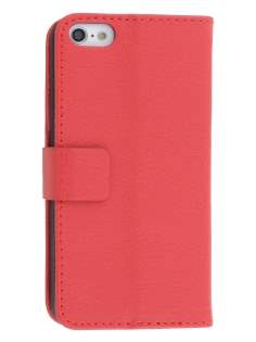 Synthetic Leather Wallet Case with Stand for iPhone 5c - Red Leather Wallet Case