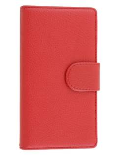 Sony Xperia Z1 Slim Synthetic Leather Wallet Case with Stand - Red
