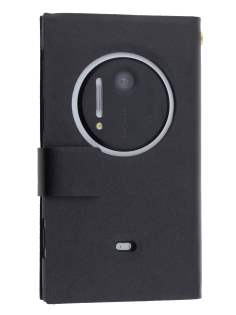 Nokia Lumia 1020 Slim Genuine Leather Portfolio Case - Classic Black Leather Wallet Case