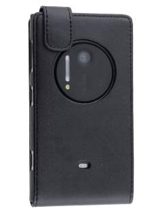Nokia Lumia 1020 Synthetic Leather Flip Case - Classic Black