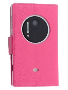 Synthetic Leather Wallet Case with Stand for Nokia Lumia 1020 - Pink Leather Wallet Case